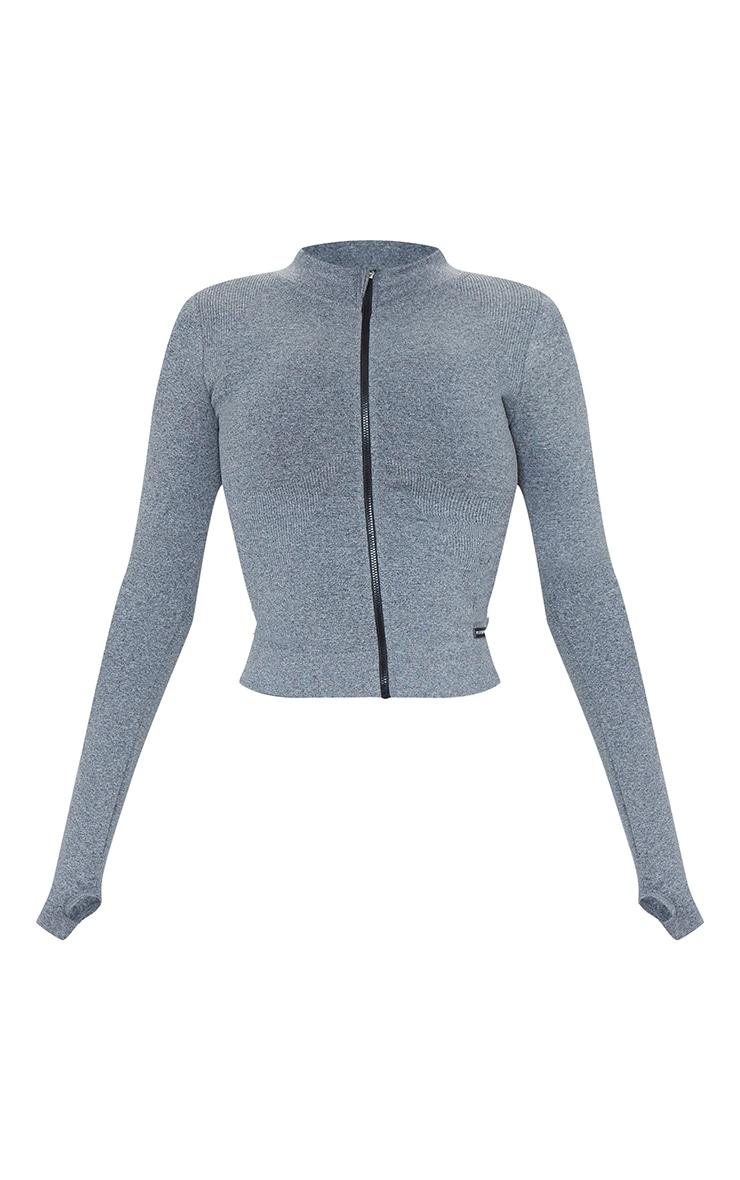 Grey Marl Seamless Rib Detail Jacket 5