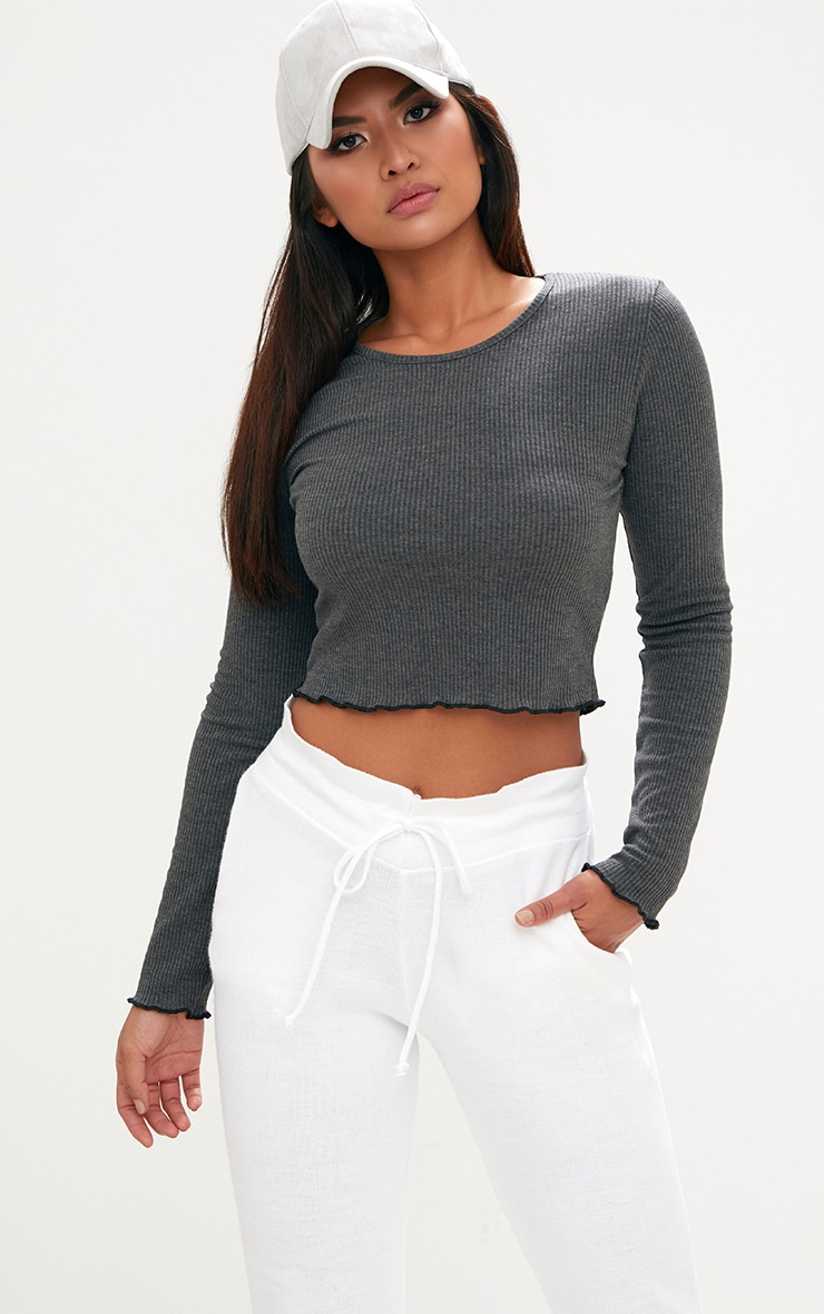 Grey Ribbed Longsleeve Frill Edge Crop Top 1