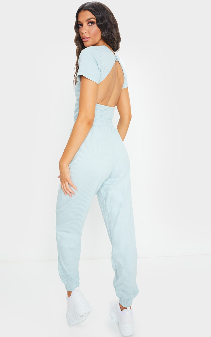 PRETTYLITTLETHING Dusky Blue Thick Rib Jumpsuit 2