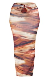 Shape Brown Layered Print Slinky Cut Out Detail Midaxi Skirt 5