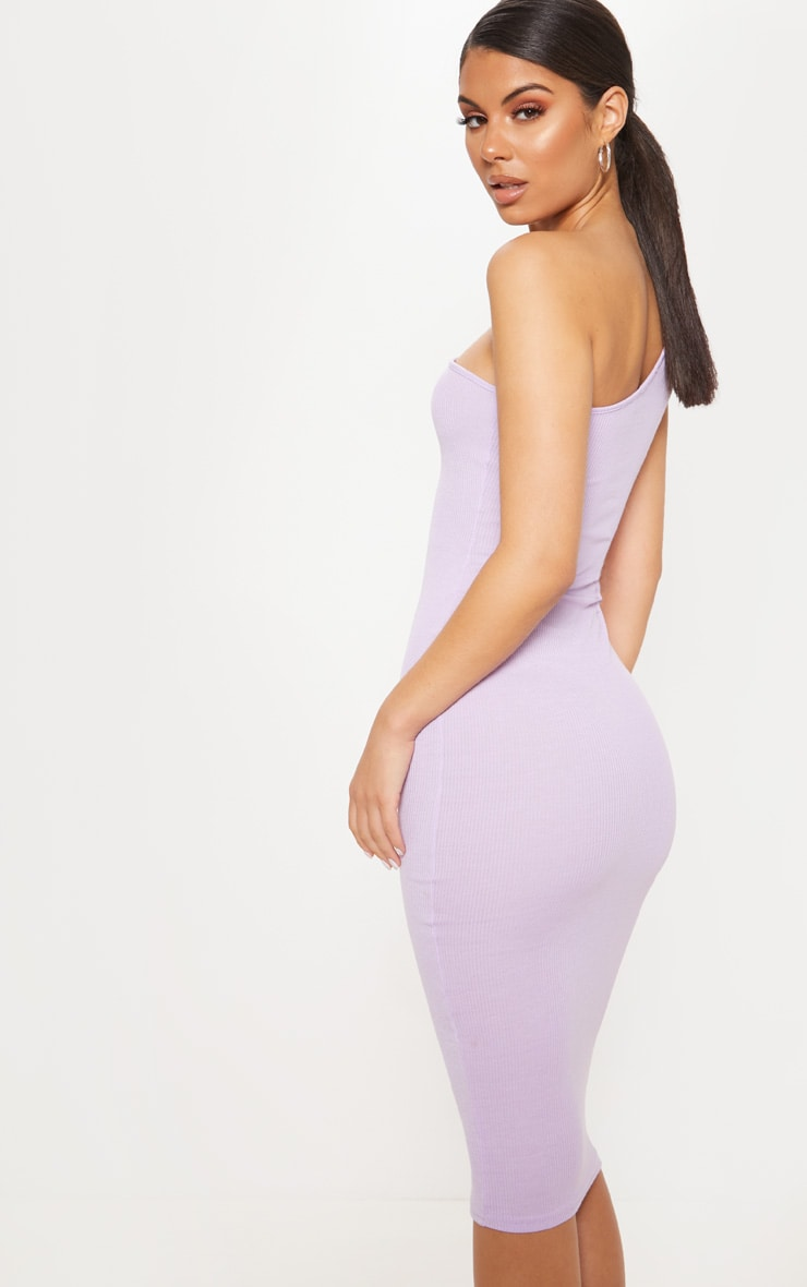 Lilac Ribbed One Shoulder Midi Dress 2