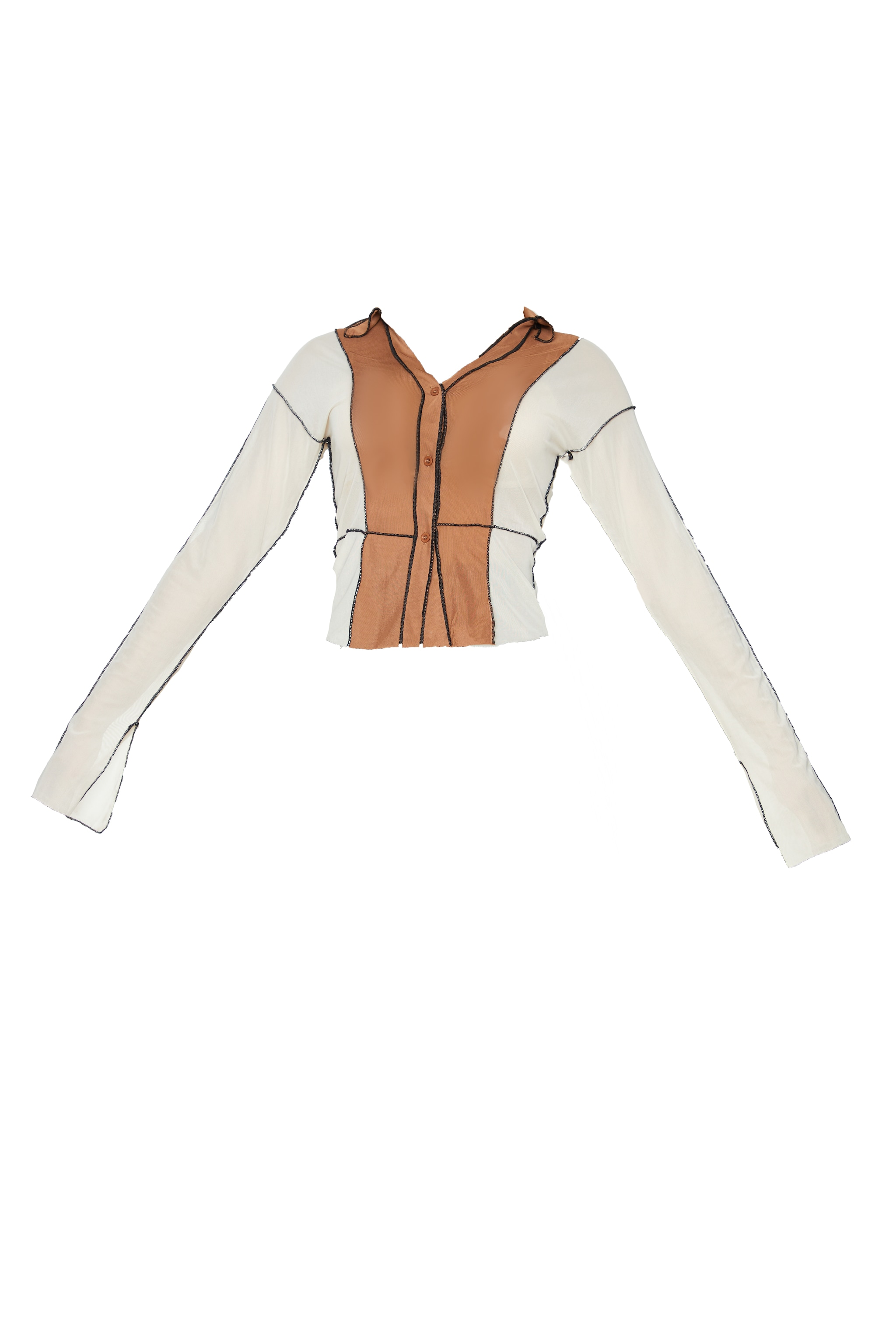 Chocolate Mesh Contrast Seam Long Sleeve Shirt 5