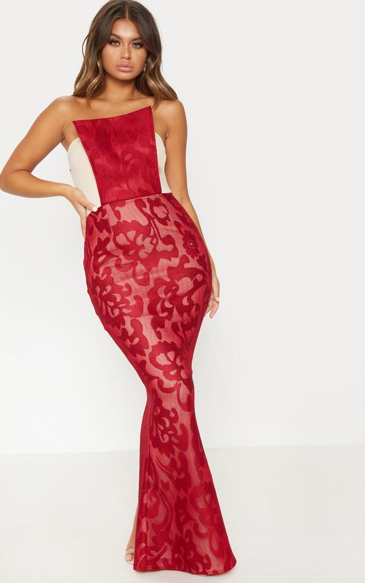 Burgundy Structured Lace Square Neckline Maxi Dress