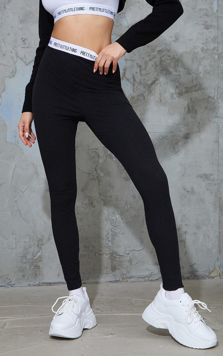 PRETTYLITTLETHING Black Soft Rib Leggings 2