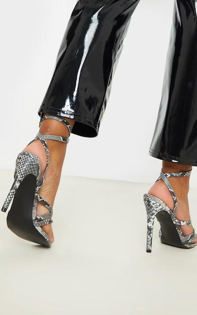 Black Snake Point Toe Multi Strappy Sandal