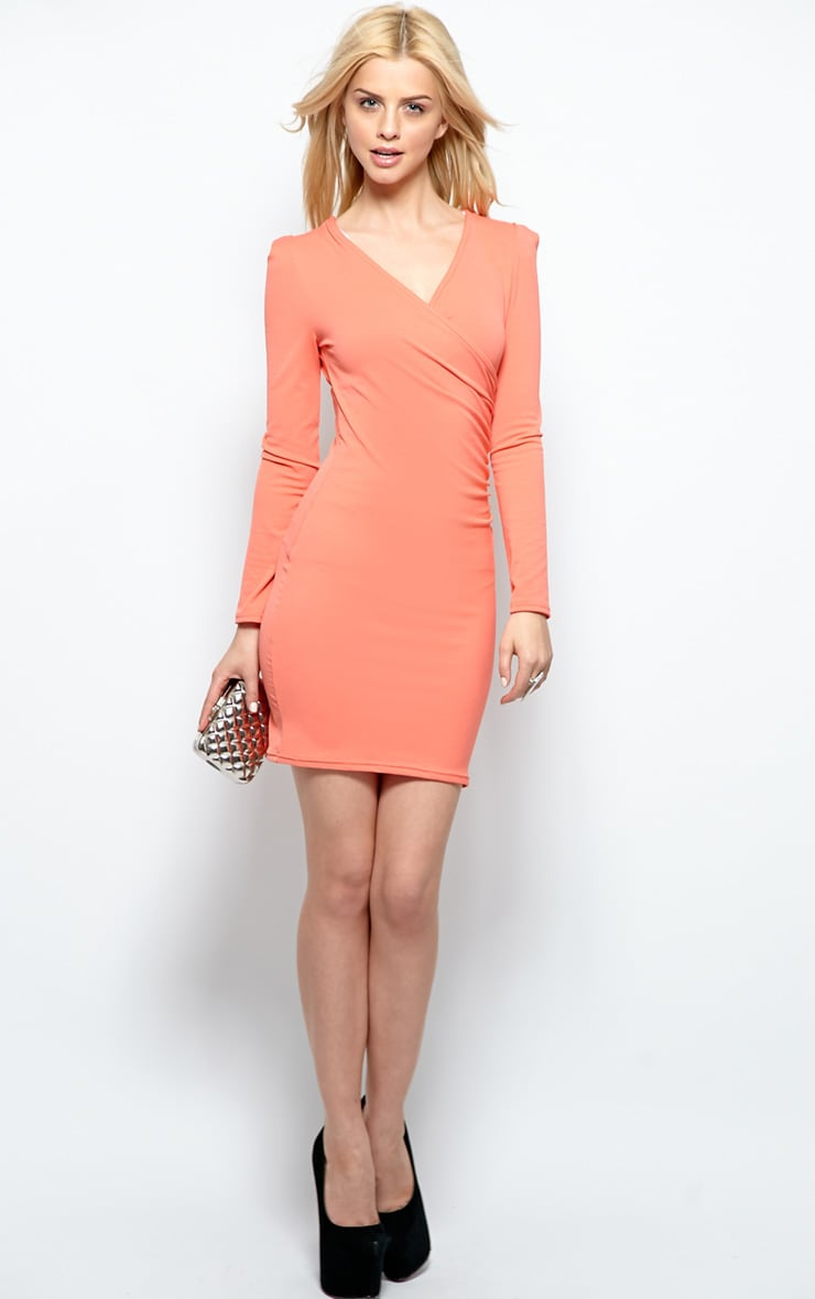 Mina Coral Crossover Dress 4