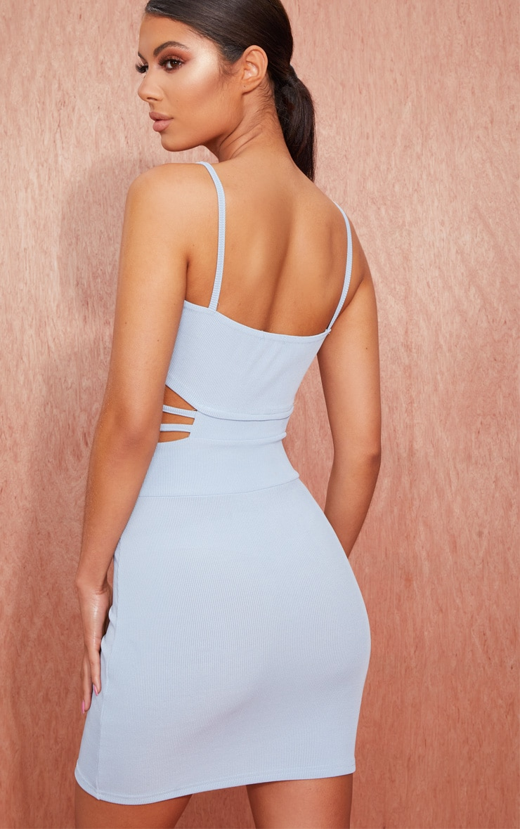 Tops for cut bodycon ribbed detail strappy dress mauve out zelda miami