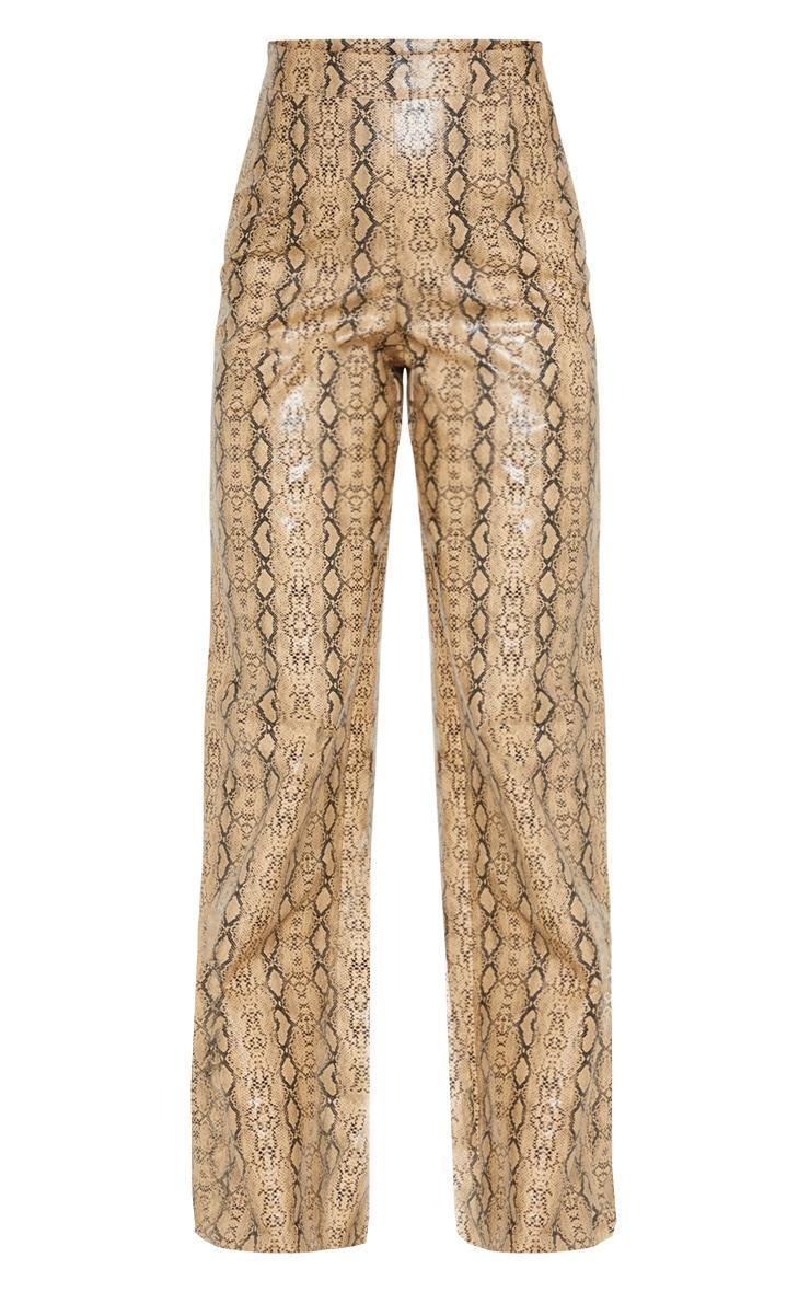 Petite Taupe PU Snake Print Wide Leg Pants 3