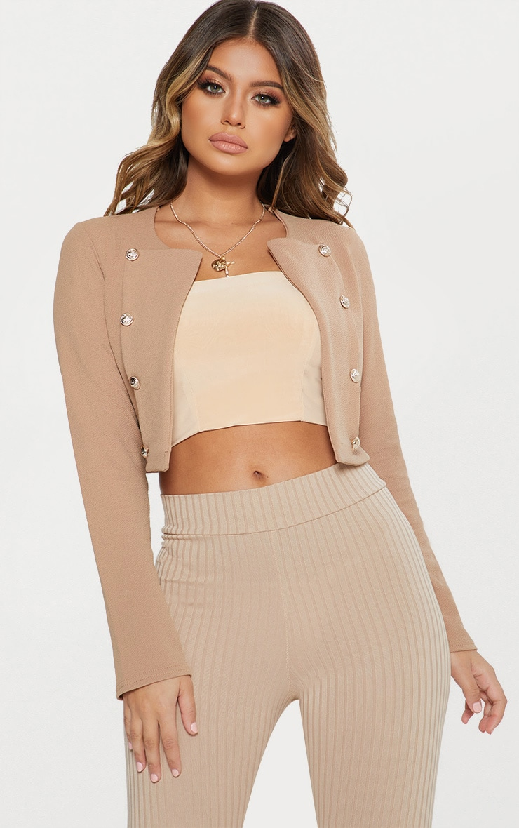 Camel Military Cropped Jacket 1