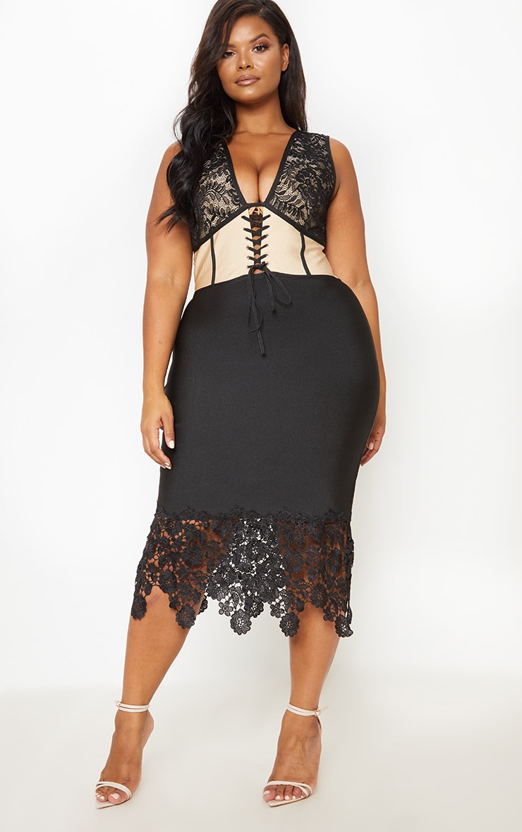 Black Bandage Crochet Lace Up Midi Dress 5