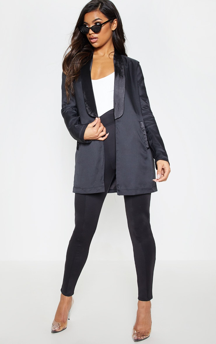 Black Satin Lapel Longline Blazer 1