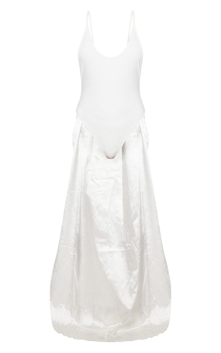 Petite White Bridal Satin Bow Back Swimsuit 3