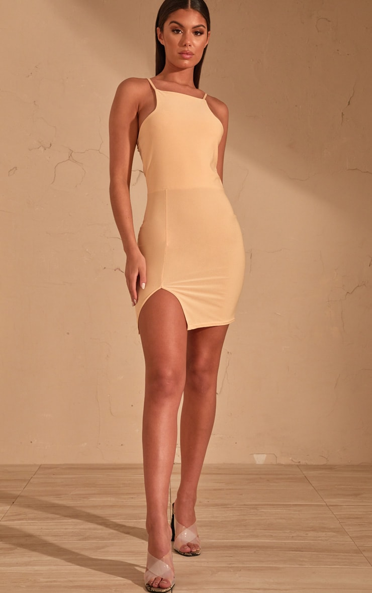 Cream 90's Neck Split Front Bodycon Dress  4