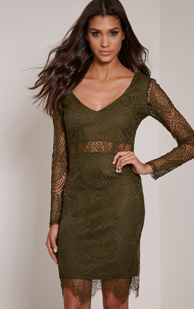 Lynda Khaki Scalloped Lace Midi Dress 1