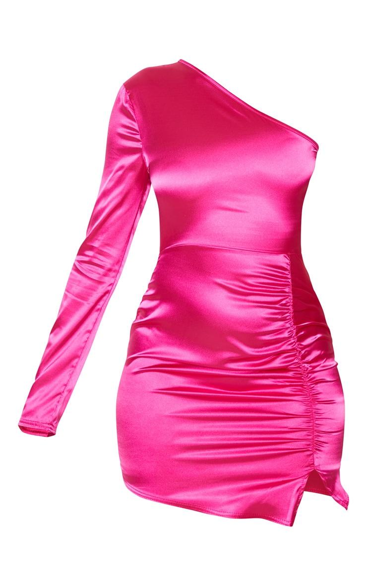Hot Pink Satin One Shoulder Ruched Side Bodycon Dress 3