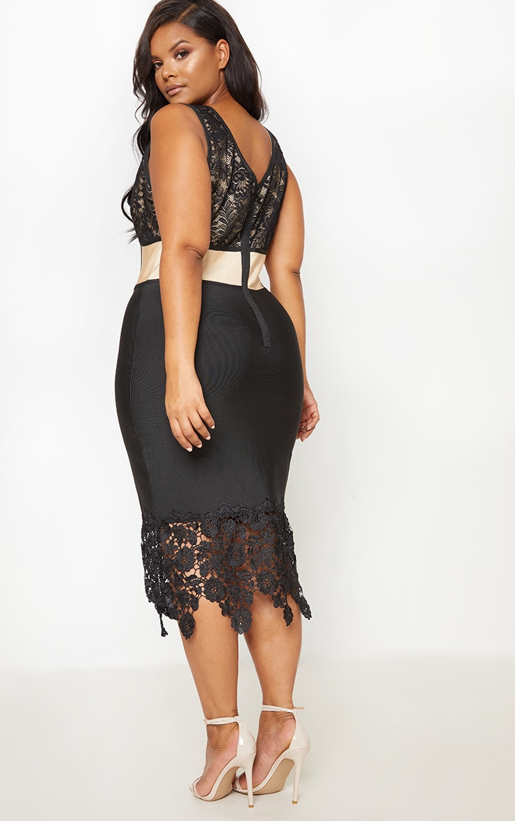 Black Bandage Crochet Lace Up Midi Dress 3