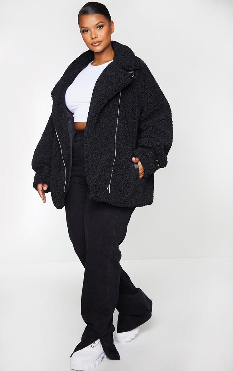 Plus Black Plush Borg Aviator Jacket 1
