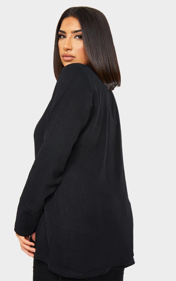 Black Woven Longline Shirt 2