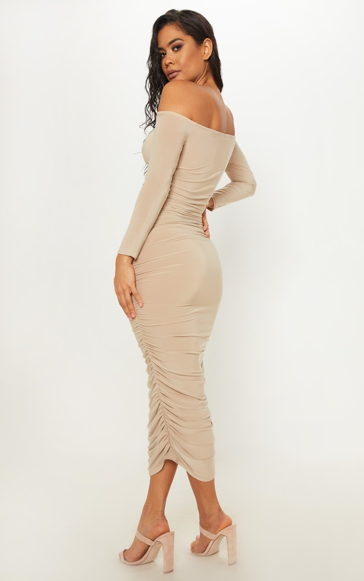 Stone Bardot Slinky Ruched Midaxi Dress 2