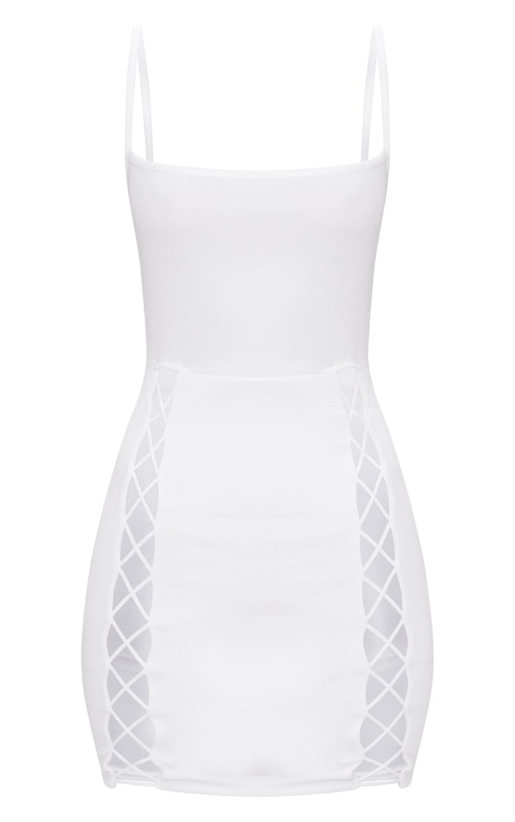 White Strappy Square Neck Lace Up Thigh Bodycon Dress 3