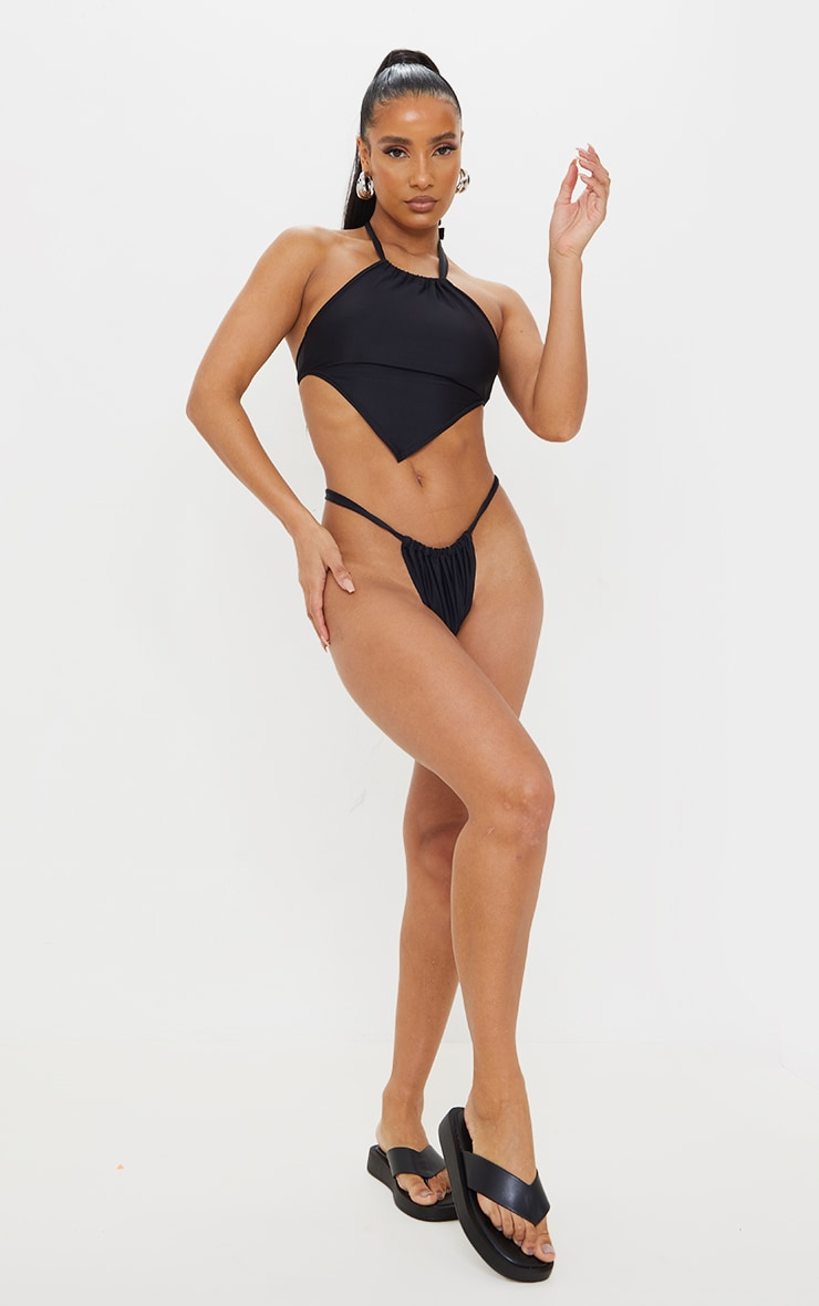 Black Racer Neck Scarf Bikini Top 3
