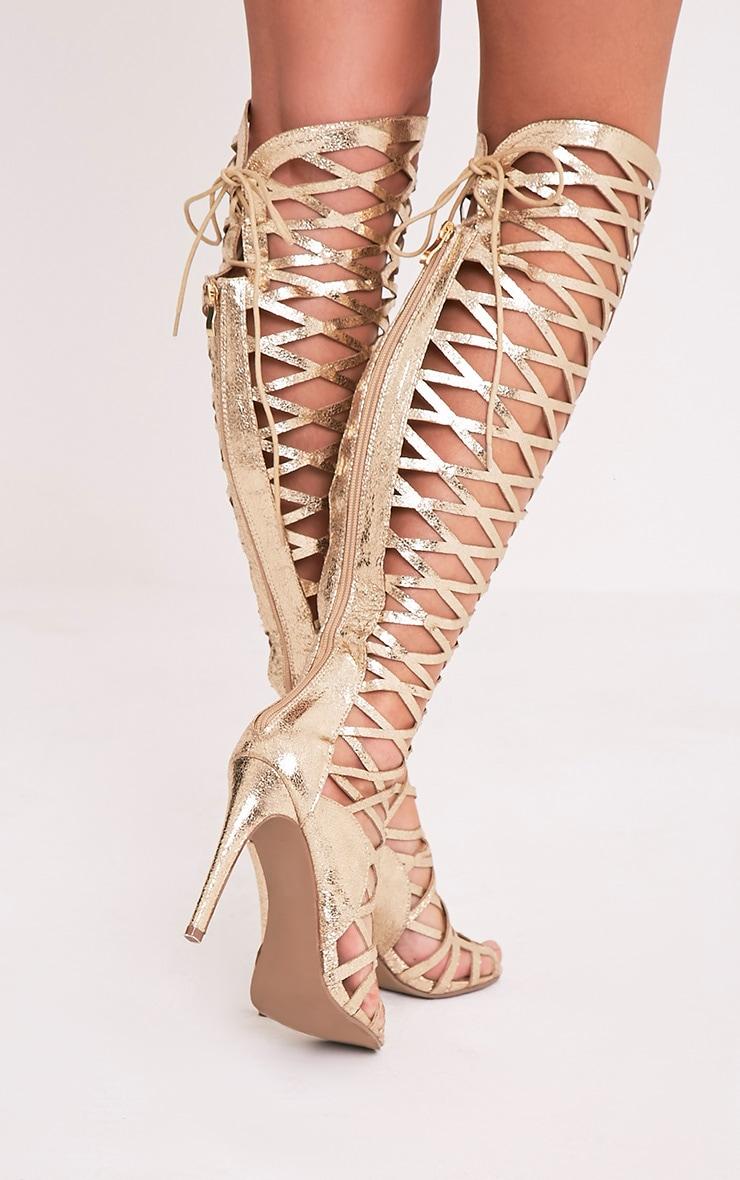 Annalisa Gold Metallic Caged Knee High Sandals 3
