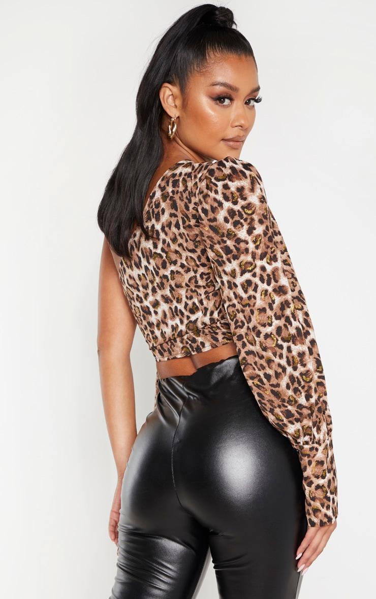 Tan Leopard One Shoulder Tie Side Crop Blouse 2