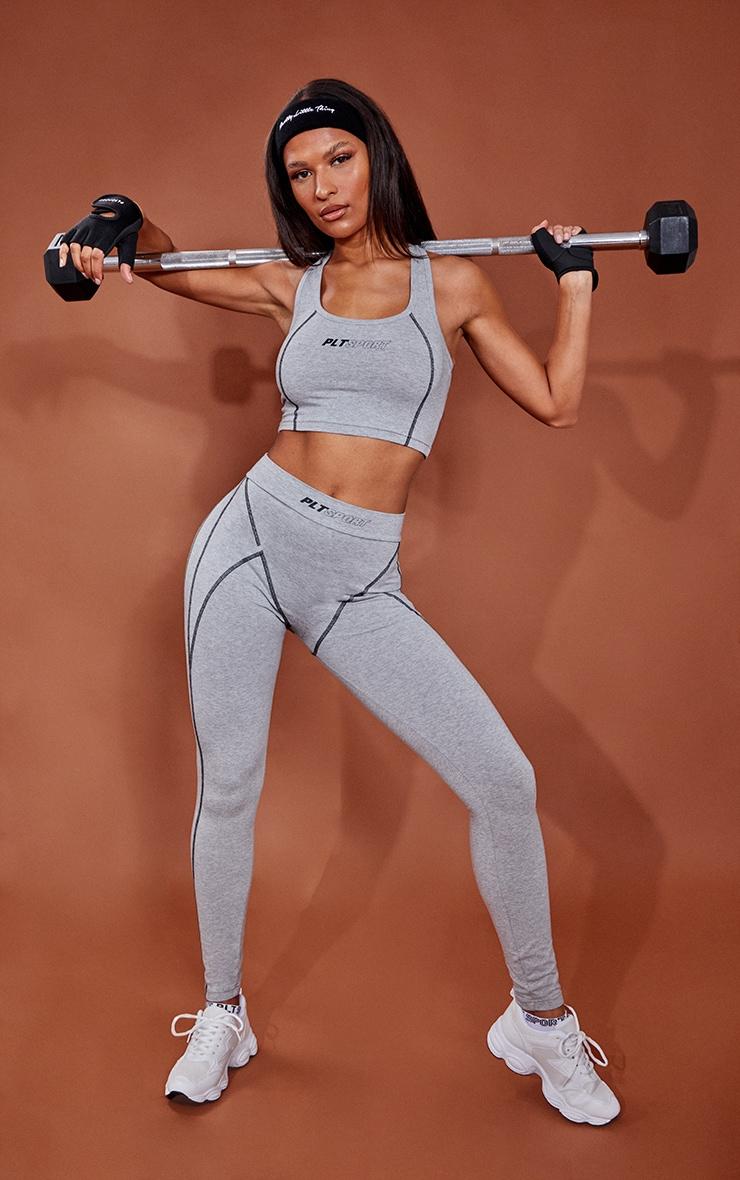 Grey Marl Cotton Luxe Stitch Detail Gym Leggings 1