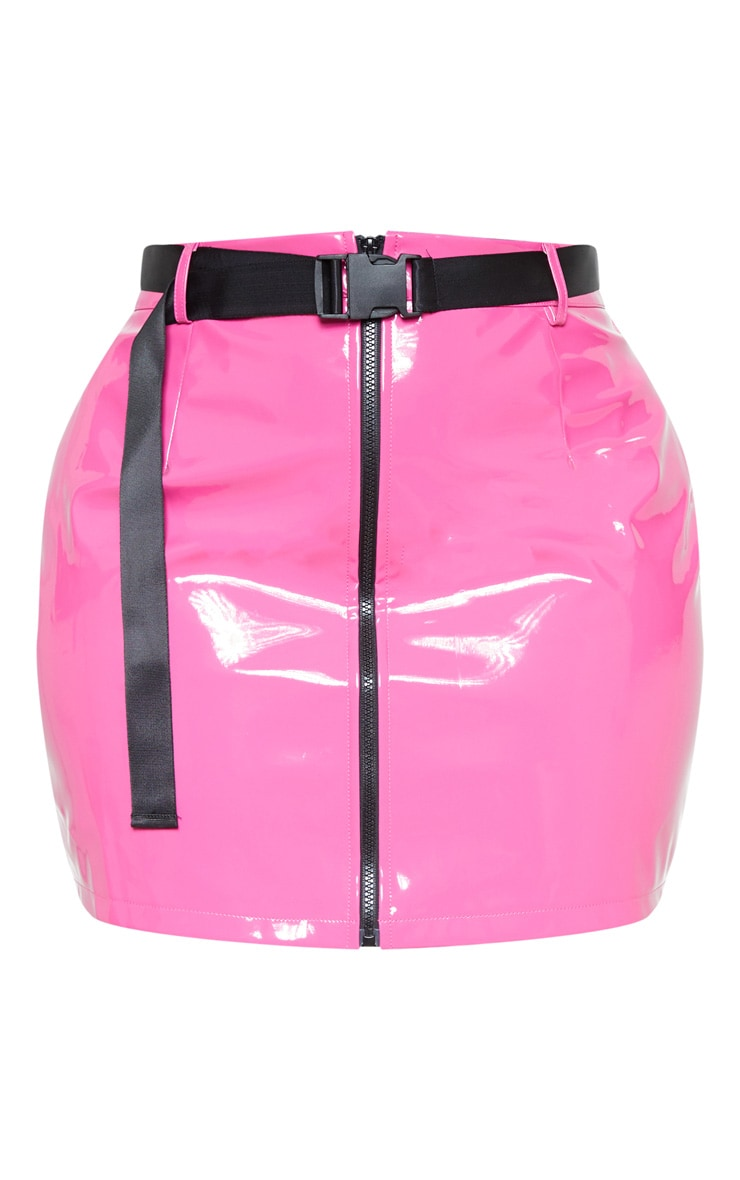 Plus Neon Pink Vinyl Zip Front Mini Skirt 4