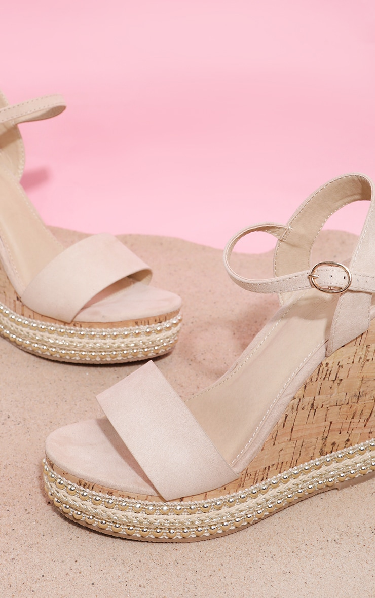Nude Studded Cork Wedge Sandal 4
