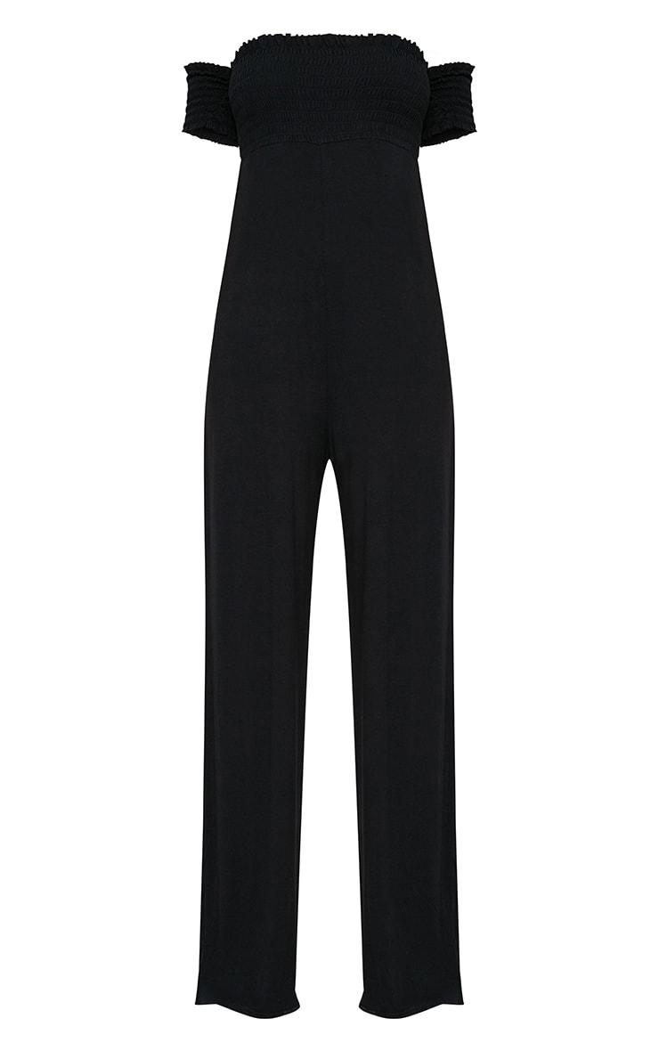 Black Bardot Shirred Jumpsuit 3