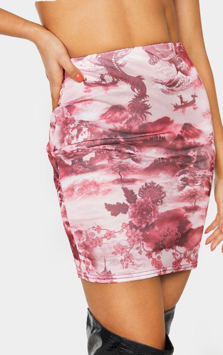 Tall Pink Oriental Print Mesh Mini Skirt 6