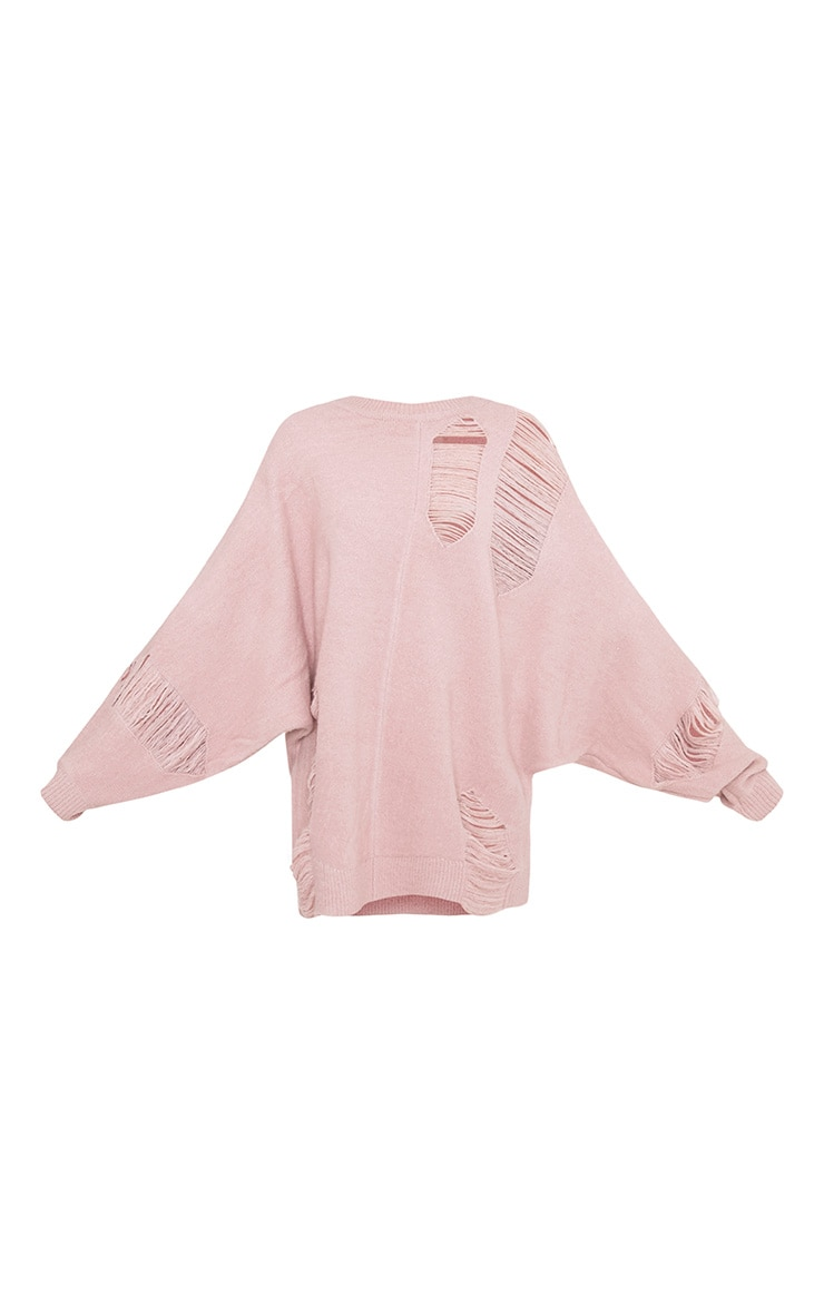 Raysha Blush Distressed Over Sized Knitted Jumper 3
