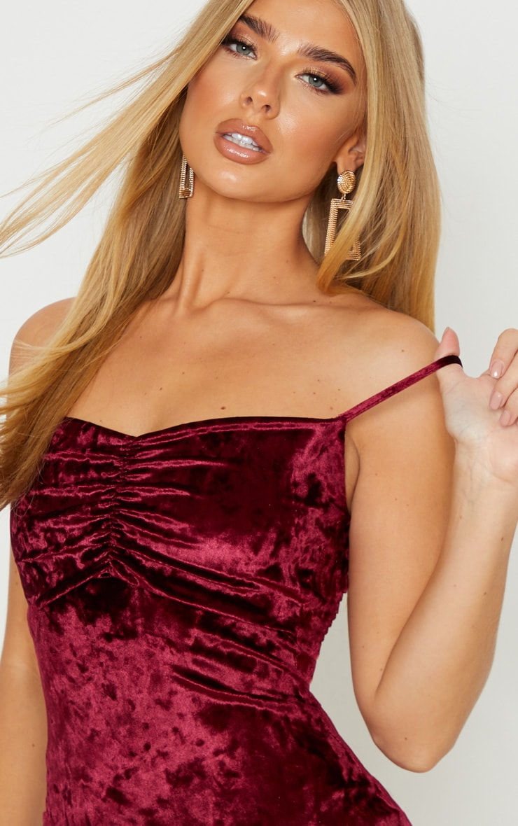 Burgundy Crushed Velvet Strappy Ruched Bust Bodycon Dress 5