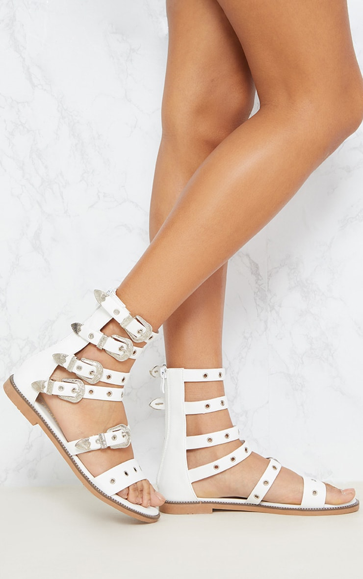 White Western Buckle Ankle Gladiator Sandal