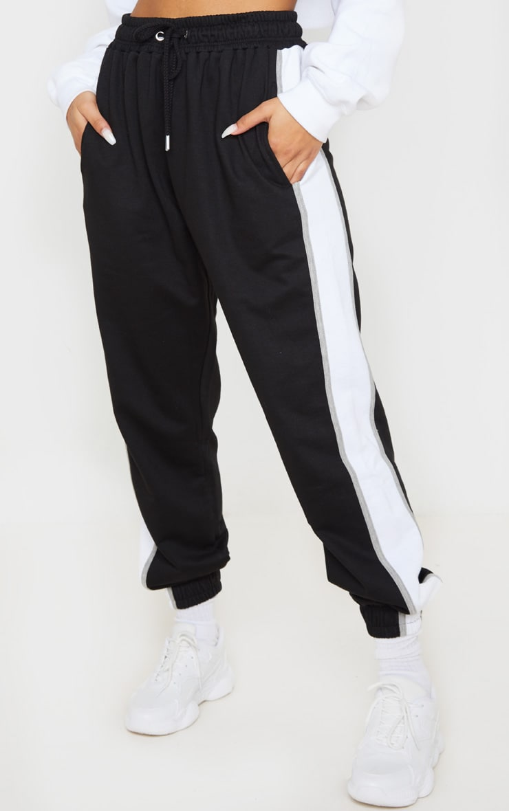 Black Multi Side Stripe Joggers 2