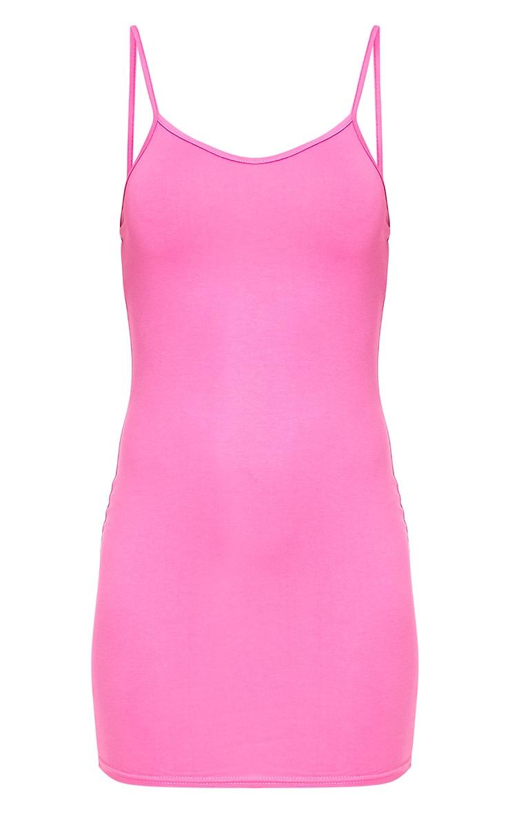 Hot Pink Basic Strappy Bodycon Dress 3