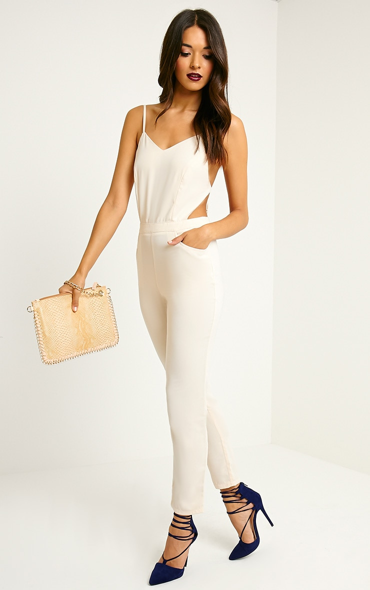 Delphine Beige Strappy Back Jumpsuit 1
