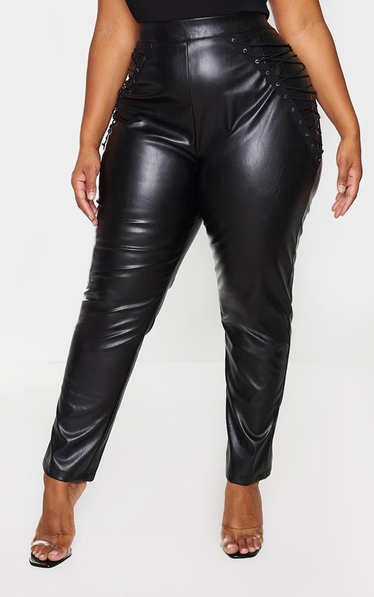 Plus Black PU Lace Up Detail Trouser 2