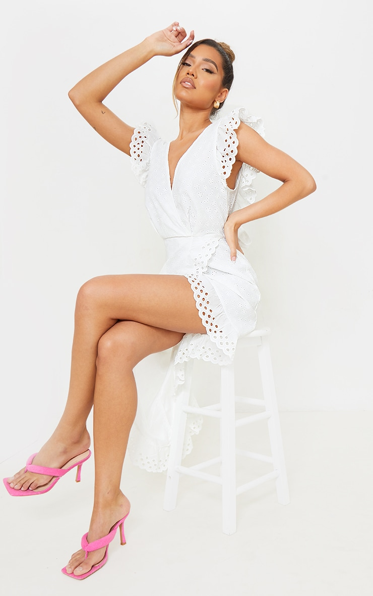 White Broderie Anglaise Tie Back Wrap Midi Dress 2