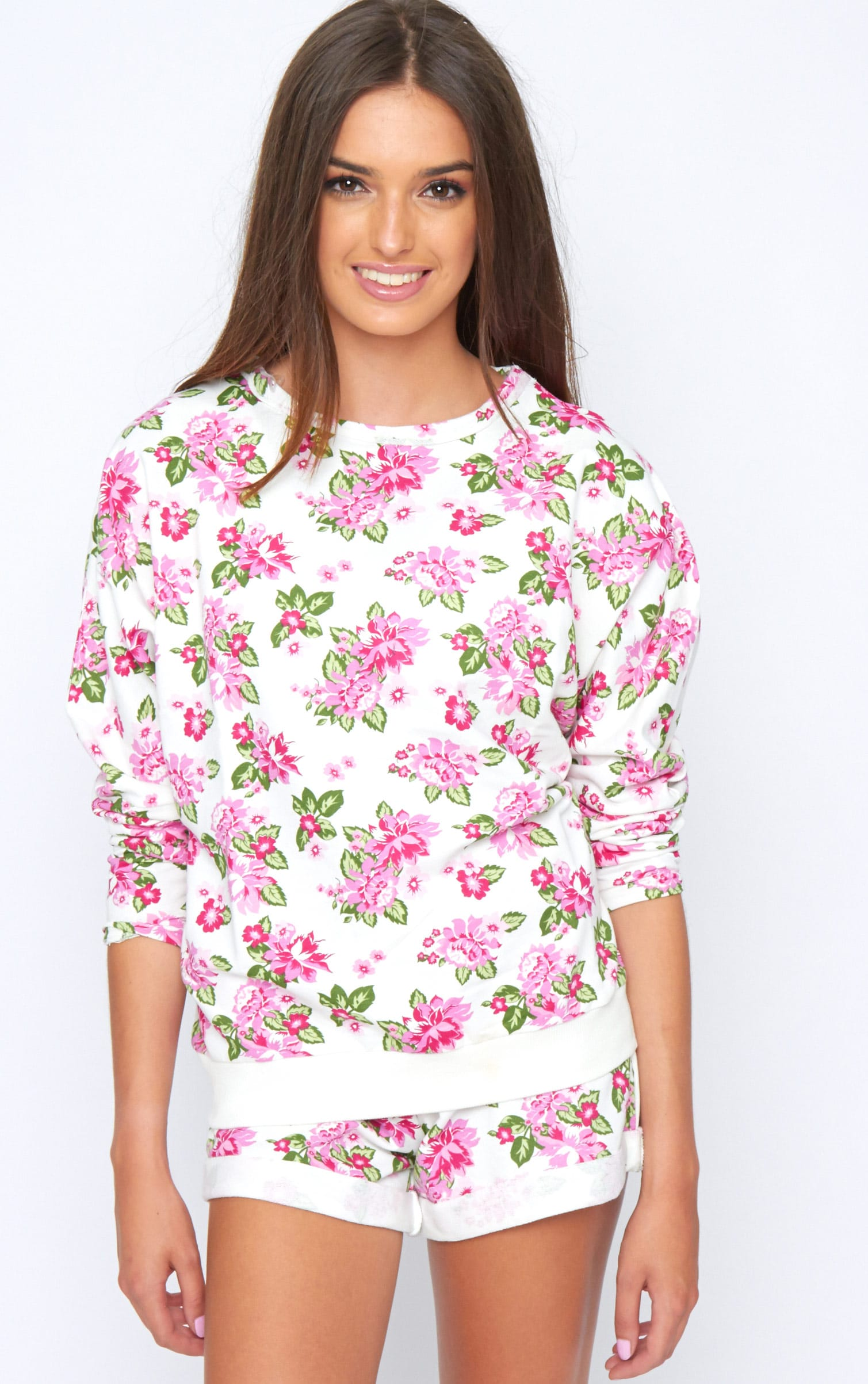 Aria White Floral Sweater  1