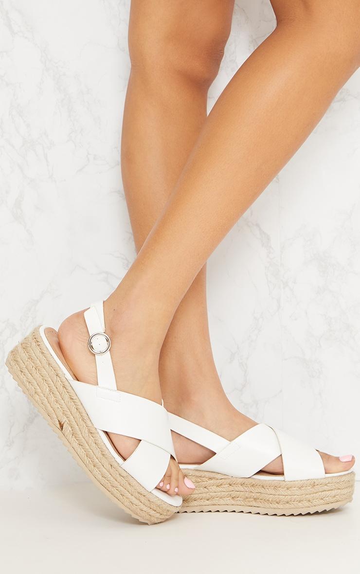 White Cross Strap Flatform Espadrille Sandal 1