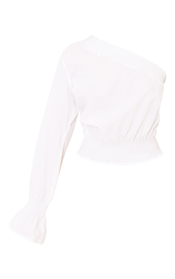 Macey White One Shoulder Smocked Cotton Blouse 3