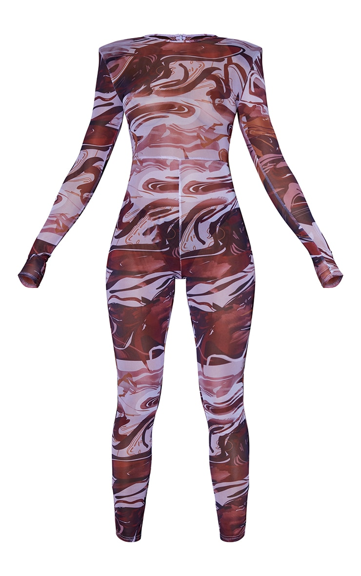 Chocolate Abstract Print Mesh Jumpsuit 5