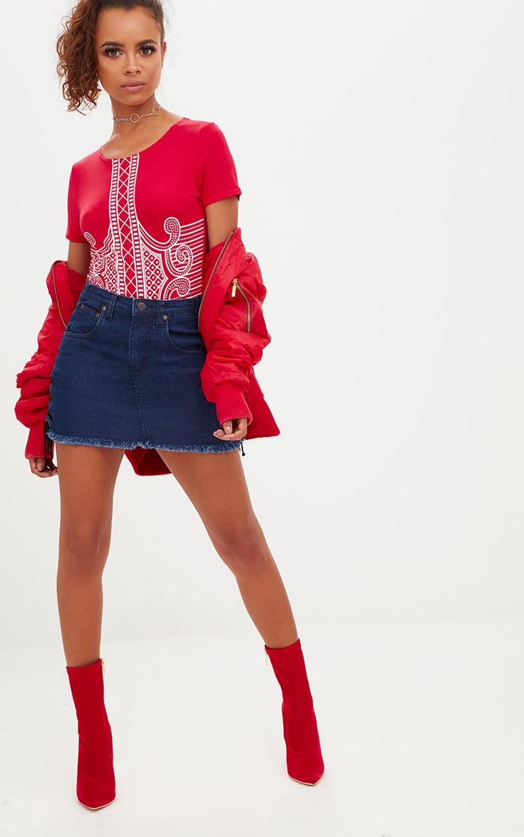Petite Red Printed Short Sleeve Bodysuit 3