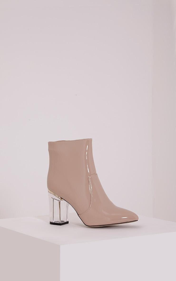 Kalia Nude Perspex Heel Ankle Boots 3