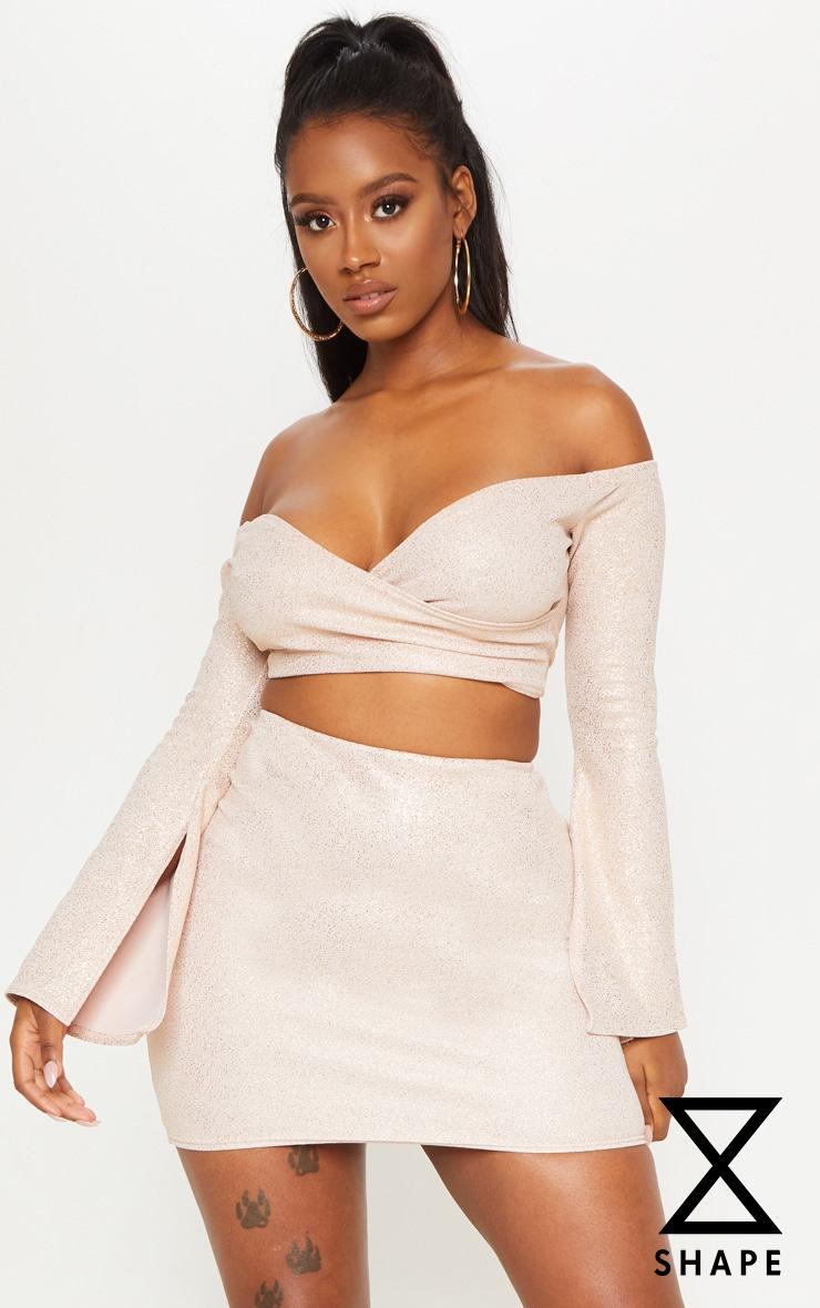 Shape Nude Crepe Glitter Bodycon Skirt