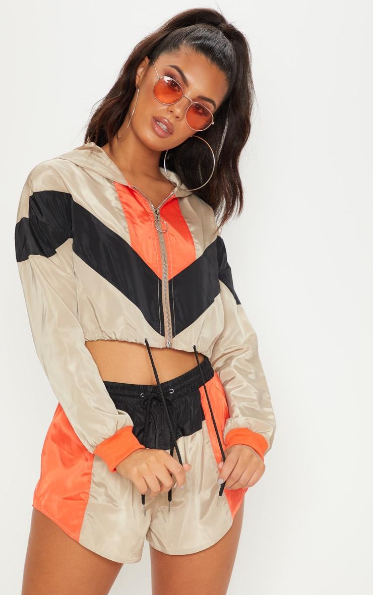 Stone Colourblock Hooded Shell Suit Crop Windbreaker 1