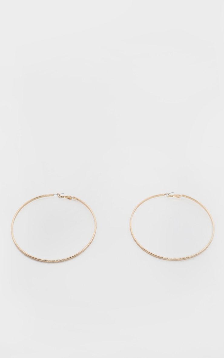 Gold Textured Basic Large Hoop Earrings 2