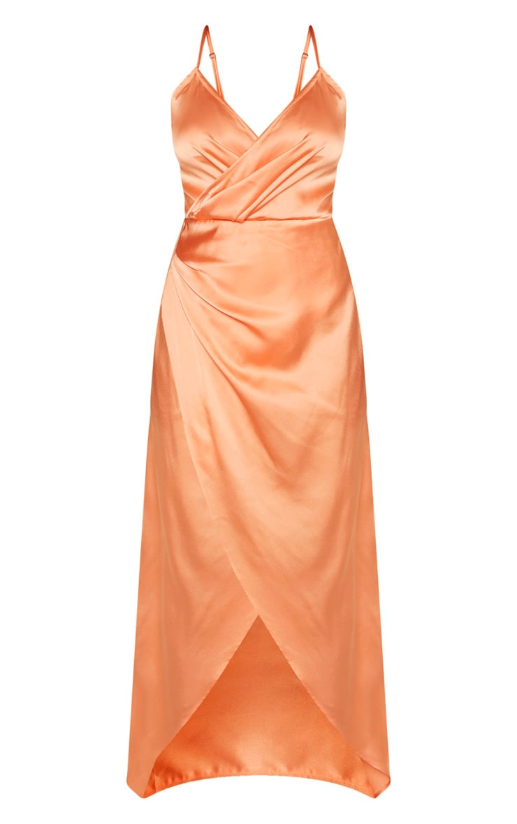 Petite Peach Satin Wrap Detail Maxi Dress 3